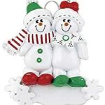 Frame Company Personalized Christmas Tree Decoration Ornaments Snow Sled Family – For the family of 2 members- Get your desired names on the items- A
