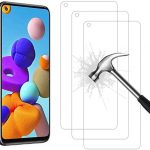 AHABIPERS Tempered Glass for Samsung Galaxy A21S Screen Protector, Easy Bubble-Free Installation, 9H Hardness, 99.99% HD Clarity Tempered Glass Protector for Galaxy A21S – 3 Pack