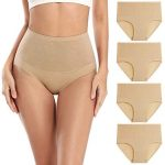 wirarpa Women's Cotton High Waisted Compression Panties Full Coverage Brief Underwear Tummy Control Knickers Multipack