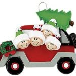Frame Company Personalized Christmas Tree Decoration Ornaments Tree Car Family – For the family of 4 members- Get your desired names on the items- A