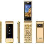 JJA A15 2020 Senior Citizens Elderly Flip Phone Basic Big Button Unlocked Dual Sim 2G 6800MAH Camera Clamshell MP3, MP4, Loud Speaker Mobile Phone (Gold)