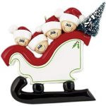 Frame Company Personalized Christmas Tree Decoration Ornaments Sleigh Family – For the family of 4 members- Get your desired names on the items- A