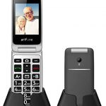 artfone 3G Big Button Mobile Phone for Elderly, Senior Flip Clam Mobile Phone Unlocked Dual SIM Free Easy to Use with 2.4″ LCD Display, SOS Button, Torch, FM and Camera (with Charging Cradle)