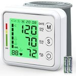 Wrist Blood Pressure Monitor for Home,Oudekay Digital Automatic Measure Blood Pressure with Heart Rate Pulse Detection,Large 3 Color Backlight LCD Display 2 User Mode with 198 Memory Capacity