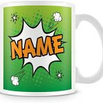 Personalised Name Mug – Add Name Text Photo – Comic Style – Green