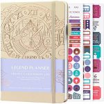 Legend Planner – Deluxe Weekly & Monthly Life Planner to Hit Your Goals & Live Happier. Organizer Notebook & Productivity Journal. A5 Hardcover, Undated – Start Any Time + Stickers – Seashell Gold