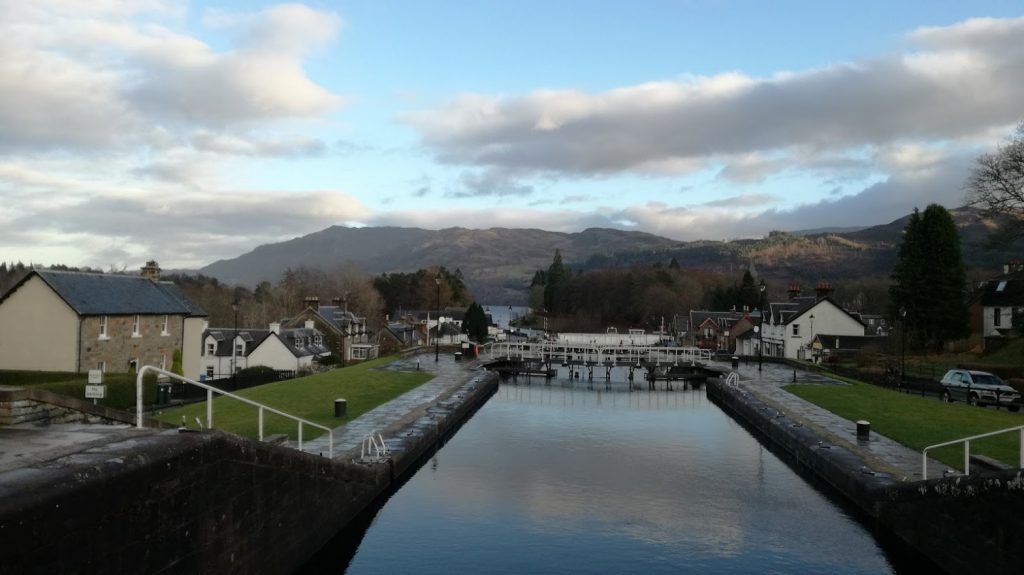 Opened in 1822, taken 12 years to complete, and cost £910,000. The canal runs some 60 miles (97 km) from northeast to southwest of Scotland and reaches 106 feet above sea level. Only one third of the entire length is man-made, the rest being formed by Loch Dochfour, Loch Ness, Loch Oich, and Loch Lochy
